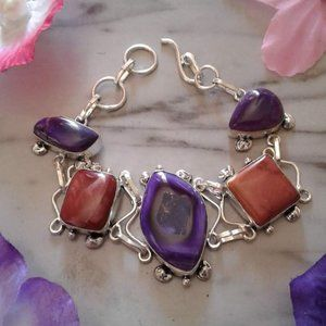 Agate and jasper sterling silver bracelet